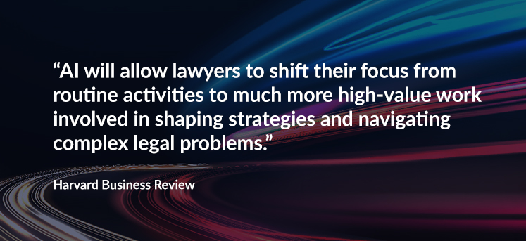 """AI will allow lawyers to """"shift their focus from routine activities to much more high-value work involved in shaping strategies and navigating complex legal problems."""" (Harvard Business Review)"""