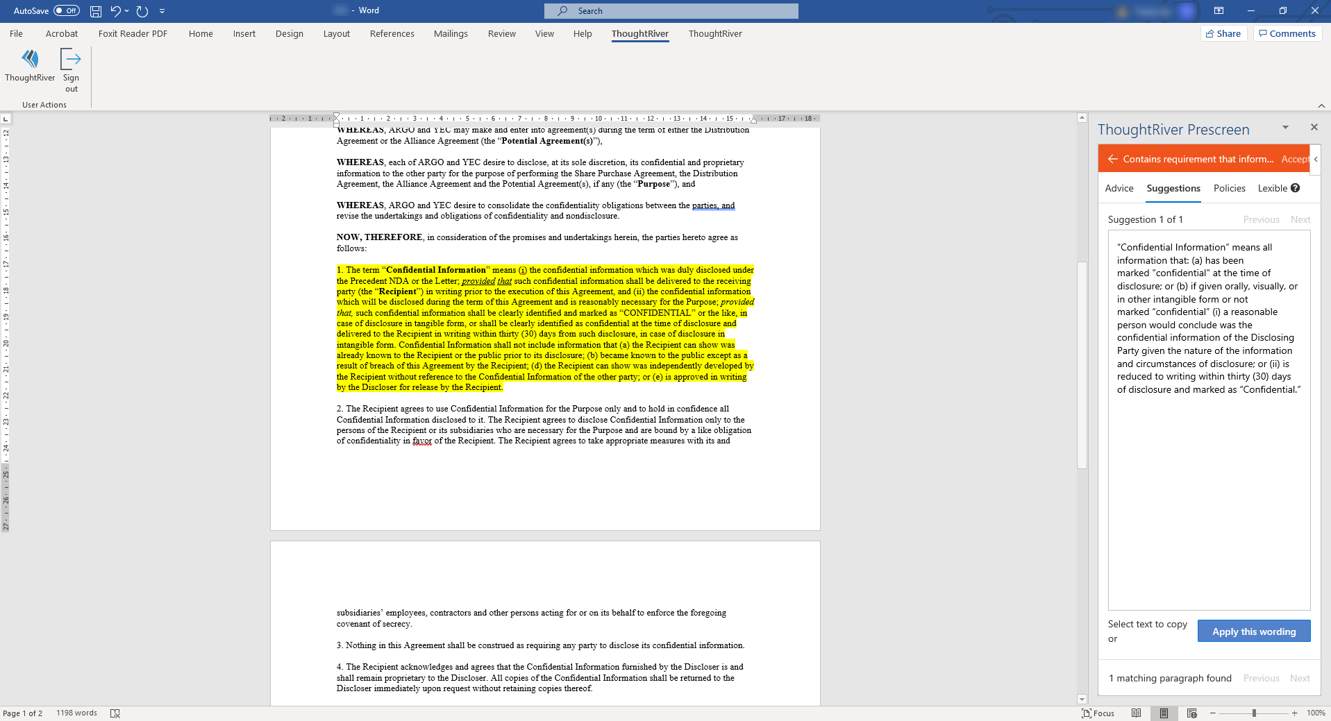 screenshot of ThoughtRiver within Microsoft Word